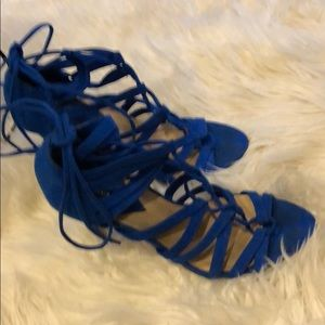 Royal blue lace up heels